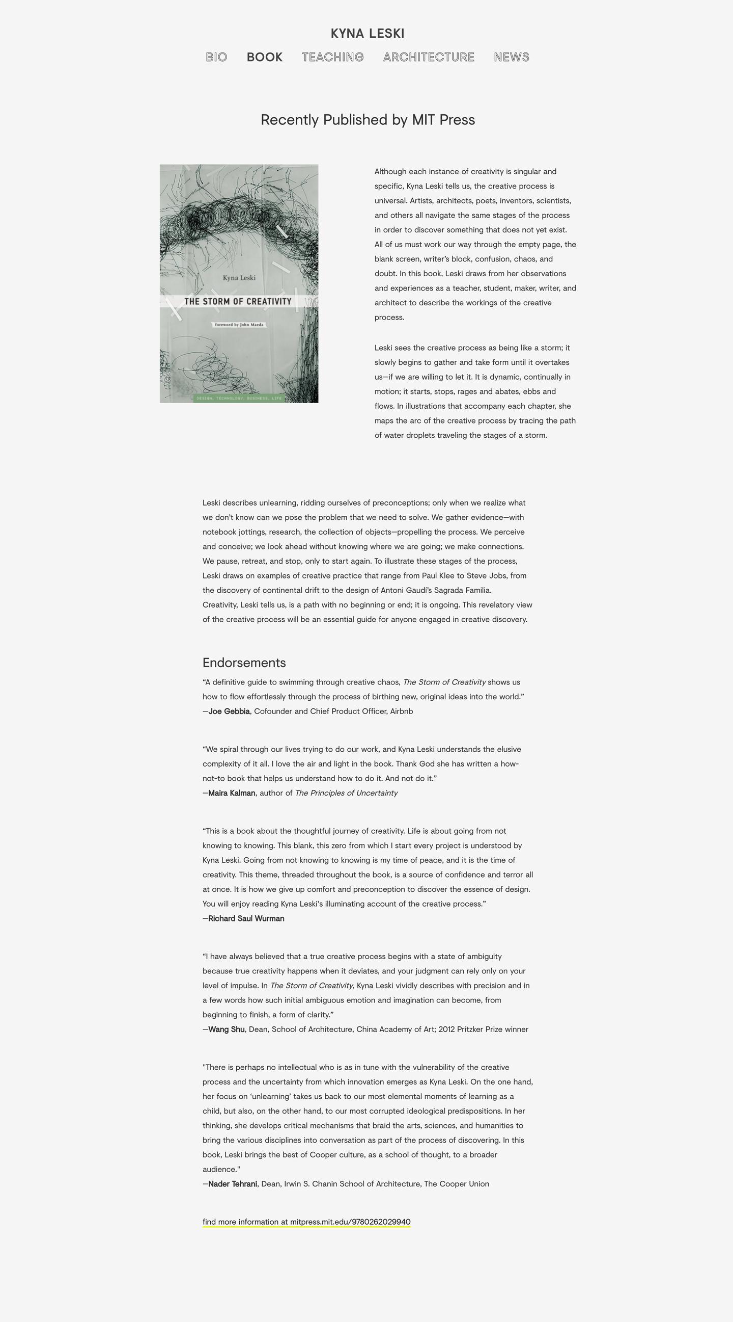 A Website For Kyna Leski - Work-Shop Design Studio